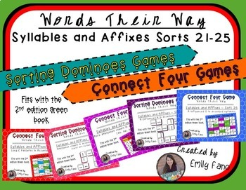 Words Their Way - GAME BUNDLE - Syllables and Affixes - Sorts 21 - 25