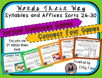 Words Their Way - GAME BUNDLE - Syllables and Affixes - Sorts 26 - 30