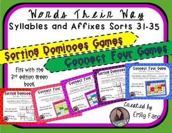 Words Their Way - GAME BUNDLE - Syllables and Affixes - Sorts 31 - 35