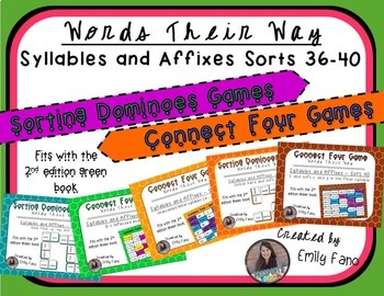 Words Their Way - GAME BUNDLE - Syllables and Affixes - Sorts 36 - 40