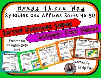 Words Their Way - GAME BUNDLE - Syllables and Affixes - Sorts 46 - 50
