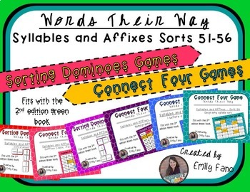 Words Their Way - GAME BUNDLE - Syllables and Affixes - Sorts 51 - 56