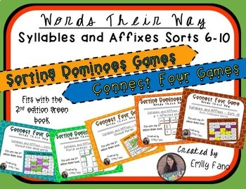 Words Their Way - GAME BUNDLE - Syllables and Affixes - Sorts 6 - 10