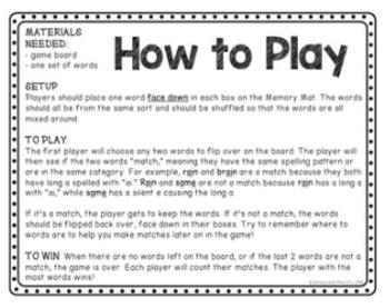 Word Study Game: Memory