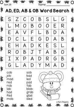 Name Alphabetic Games & Worksheets (Unit 4) CVC & CVCC Word Families