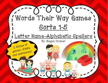 Words Their Way Games for Unit 1 Sorts 1-5 in Letter Name - Alphabetic Spellers