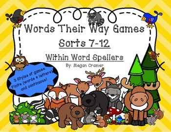 Words Their Way Games for Unit 2 Sorts 7-12 in Within Word Spellers