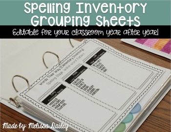 Words Their Way Grouping Sheets {Editable}