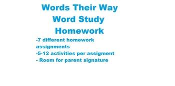 Words Their Way Homework