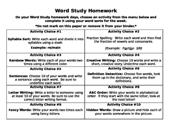 Words Their Way Homework Activities