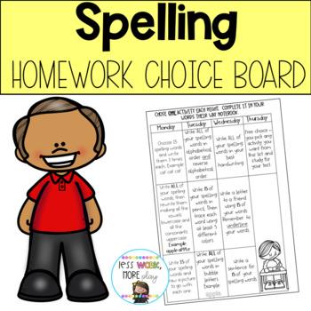 Words Their Way Homework Choice Board