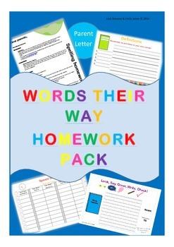 Words Their Way Homework Pack - Word Study Homework Complete - Spelling