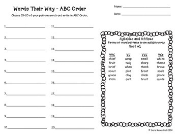 Words Their Way Homework - Syllables and Affixes #1-56 (Green Book)