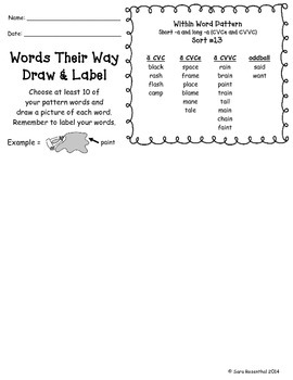 Words Their Way Homework - Within Word Patterns #13-50 (Yellow Book)