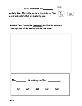 Words Their Way Homework (blue bk) Sorts 6-12