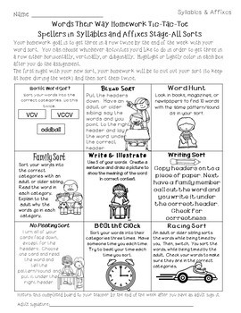 Homework Helper for Syllables & Affixes & Derivational Relations Stage