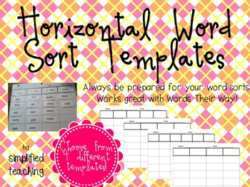 Word Sort Horizontal Templates and Directions {Simplified Teaching}
