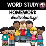 Word Study Individualized Homework Helper for Beginning Spellers