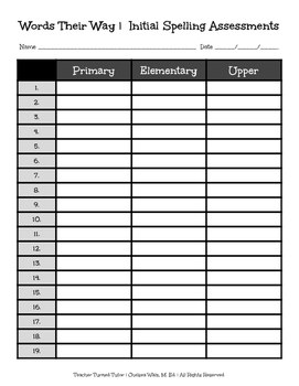 Words Their Way: Initial Spelling Assessment Sheet