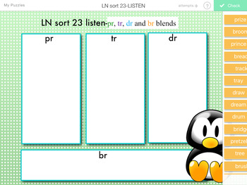 Words Their Way- LETTER NAMES sorts 1-49 iPad STICK AROUND app