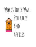 Words Their Way Lessons - Syllables and Affixes