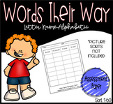 Words Their Way: Letter Name-Alphabetic Assessment Paper