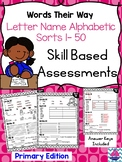 Words Their Way Letter Name Alphabetic Skill Based Assessments- Level 1