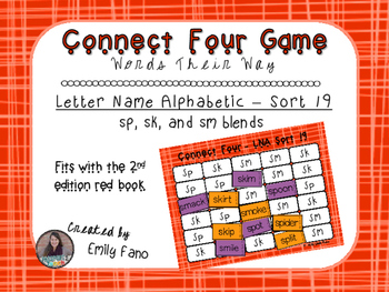 Words Their Way - Letter Name Alphabetic - Sort 19 Connect Four