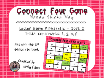 Words Their Way - Letter Name Alphabetic - Sort 2 Connect Four