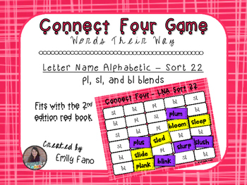 Words Their Way - Letter Name Alphabetic - Sort 22 Connect Four