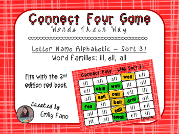 Words Their Way - Letter Name Alphabetic - Sort 31 Connect Four