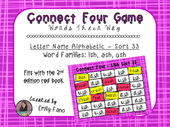 Words Their Way - Letter Name Alphabetic - Sort 33 Connect Four