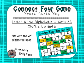 Words Their Way - Letter Name Alphabetic - Sort 36 Connect Four
