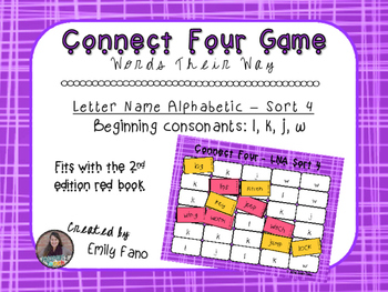 Words Their Way - Letter Name Alphabetic - Sort 4 Connect Four