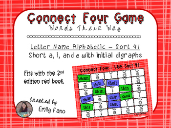 Words Their Way - Letter Name Alphabetic - Sort 41 Connect Four