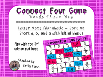 Words Their Way - Letter Name Alphabetic - Sort 43 Connect Four