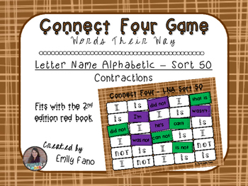 Words Their Way - Letter Name Alphabetic - Sort 50 Connect Four