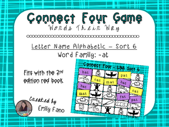 Words Their Way - Letter Name Alphabetic - Sort 6 Connect Four