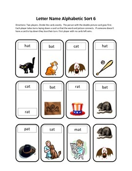 Words Their Way Letter Name Alphabetic Sort 6 Game