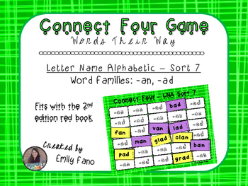 Words Their Way - Letter Name Alphabetic - Sort 7 Connect Four