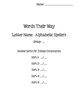 Words Their Way - Letter Name Alphabetic - Sorts 1-50 BUNDLED {sort book}