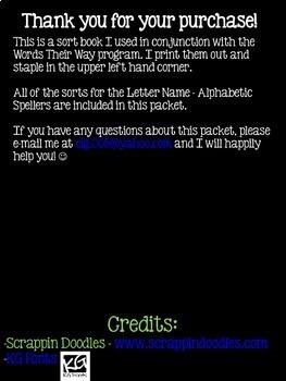 Words Their Way - Letter Name Alphabetic - Sorts 1-50 BUND