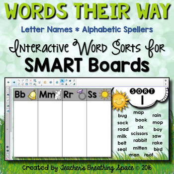 Words Their Way --- Letter Name Alphabetic Sorts (1-50)  For SMART Boards