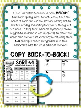 Words Their Way -- Letter Name Alphabetic Sorts -- Homework Sorts & Lists