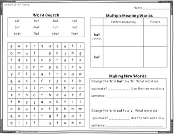 Words Their Way - Letter Name Alphabetic Spellers - A Worksheet for Each Sort
