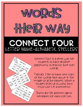 Words Their Way - Letter Name-Alphabetic Spellers Connect Four