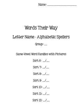 Words Their Way - Letter Name Alphabetic Spellers - Sort 6-12 {sort book}