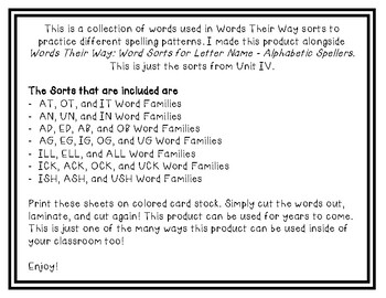 Words Their Way - LNAS Sort Words Unit 4