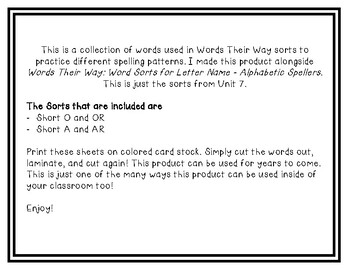 Words Their Way - LNAS Sort Words Unit 7
