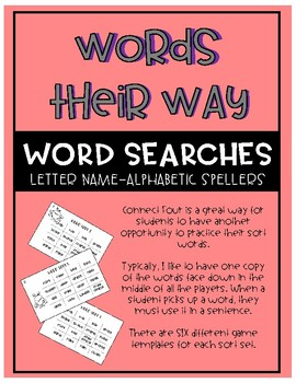 Words Their Way - Letter Name-Alphabetic Spellers Word Searches